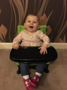 Happy to be in her summer infact pop 'n' sit chair