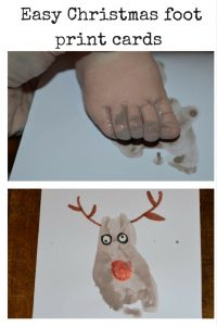 easy foot print card ideas for christmas
