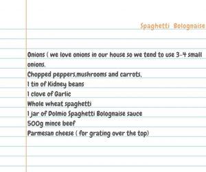 spaghetti bolognaise with Dolmio