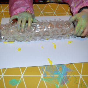 bubble wrap painting with rolling pin
