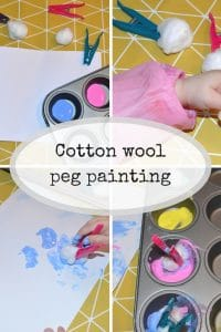 cotton wool peg painting an easty activity to do with toddlers