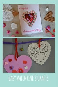 Easy valentine's crafts to do with children of all ages including valtines bunting and an easy card idea