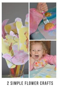 children love flowers and thety love crafts. So here are two easy flower crafts to do with children of all ages. #craft #kidscraft #flowercraft #messyplay #potatoprinting #painting