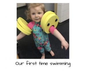 Our first time swimming and my first time in a swimming costume since having children