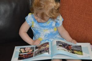 Ava enjoying her My-picture book review