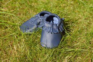 aidie London Navy blue baby moccosains