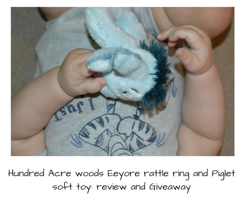 Hundred Acre woods Eeyore rattle ring and Piglet soft toy: review and Giveaway