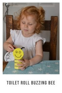 turn an empty toilet paper roll into a cute, bee craft for kids! #craft #beecraft #toiletroll #forkids #eyfs #spring #forchildren #ideas #paper #easy #summercrafts