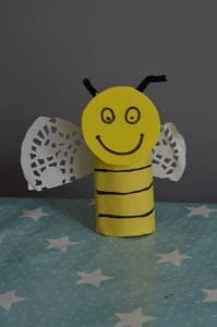 Beeding tissue paper flower craft and toilet roll bee