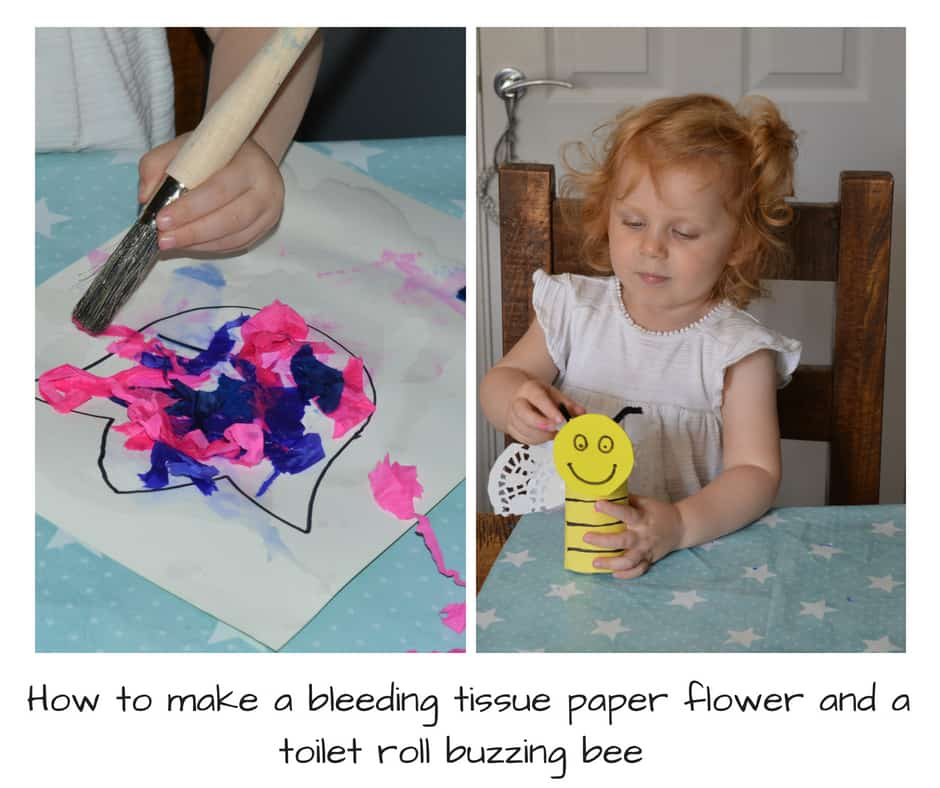 Beeding tissue flower craft and toilet roll bee