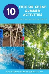 Having the kids at home during the summer can be expensive but it doesn't have to be. Here are my top 10 free or cheap summer activties #free #cheap #freeorcheap #activties #summeractivties #kids #fun #toddlers #preschool #forkids #games #outdoors #scienceexperiments #bughunt #denbuilding