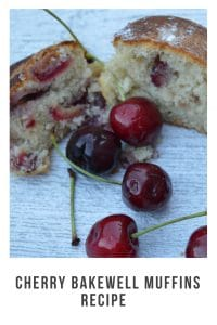 Easy Cherry Bakewell muffin recipe that will take you less than an hour to do. Using fresh cherries for added taste #recipe #cherrybakewell #muffins #freshcherries #easyrecipie #cookingwithkids #muffins #