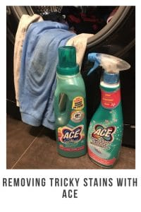 When you have children no one tells you about the amount of time you will spend removing stains from their clothes. These Ace products have cut the time I spend removing stains by over half ! #stainremoval #family #parenting #messykids #tips #ideas #hacks #howto #easy #easystainremoval #clothes #childrensclothes ##setin #grease #diy