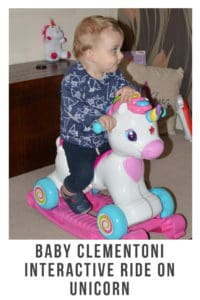 The Baby Clementoni Interactive Ride On Unicorn is the perfect ride on companion for children. Not only can they have fun riding it around they can learn spanish,number, letters and lots more #toddlertoys #rideon #unicorn #unicorntoys #interativetoys #learninglanguages