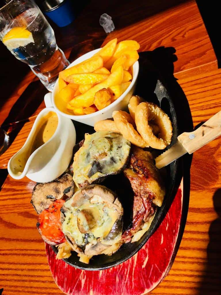 Black and Blue loaded steak
