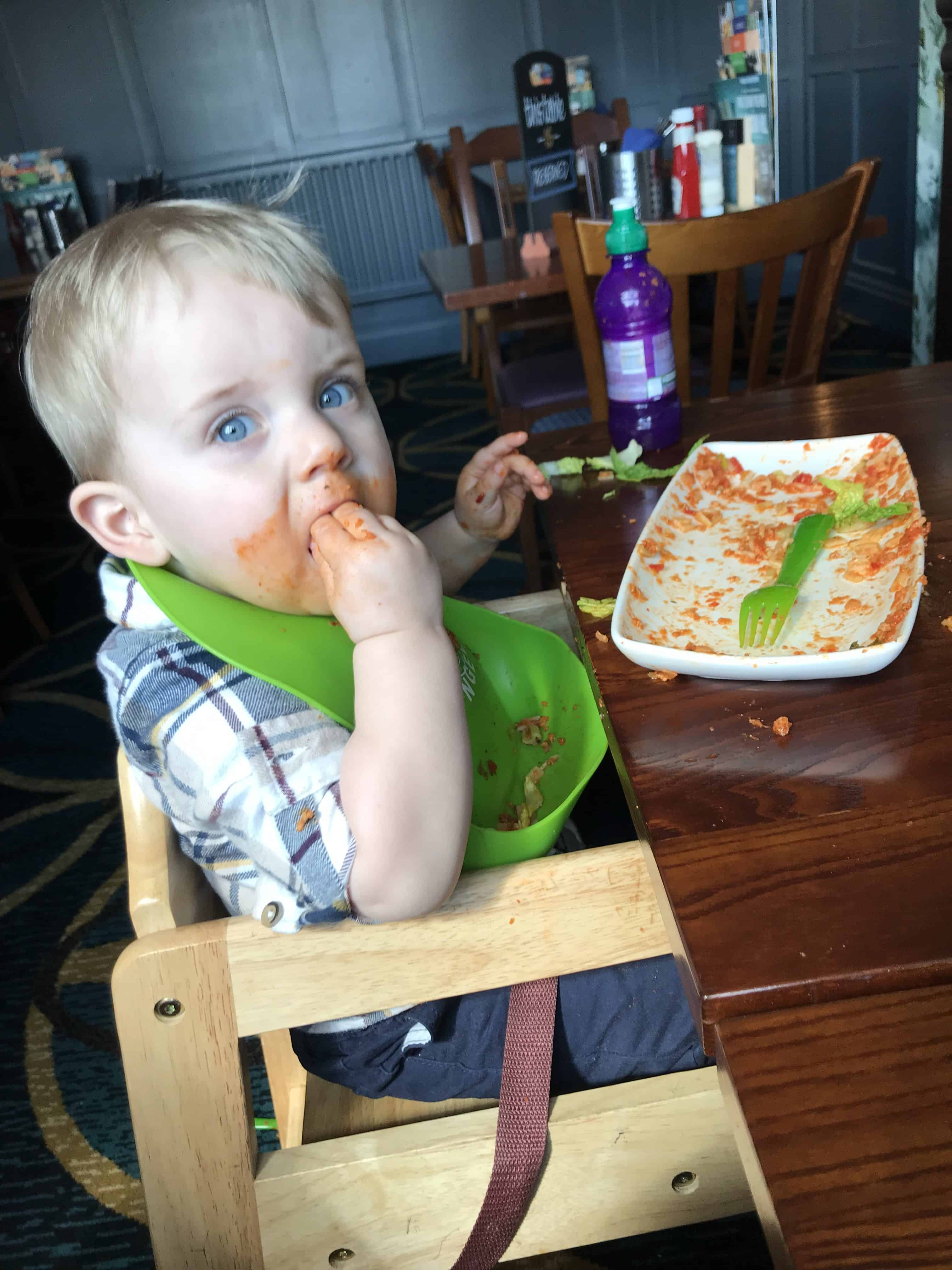 Alby enjoying his pasta and side salad at the Merry Hill pub