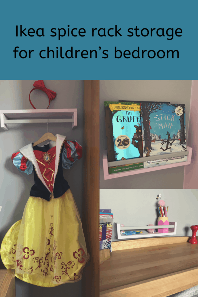 Ikea spice rack hack storage for children bedroom cheap and easy to do  #ikeahack #ikeastorage #ikea #children'sbedroom #toddlerroom #bookshelf #DIY