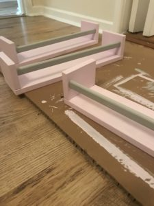 Painting up Ikea spice racks using wall paint