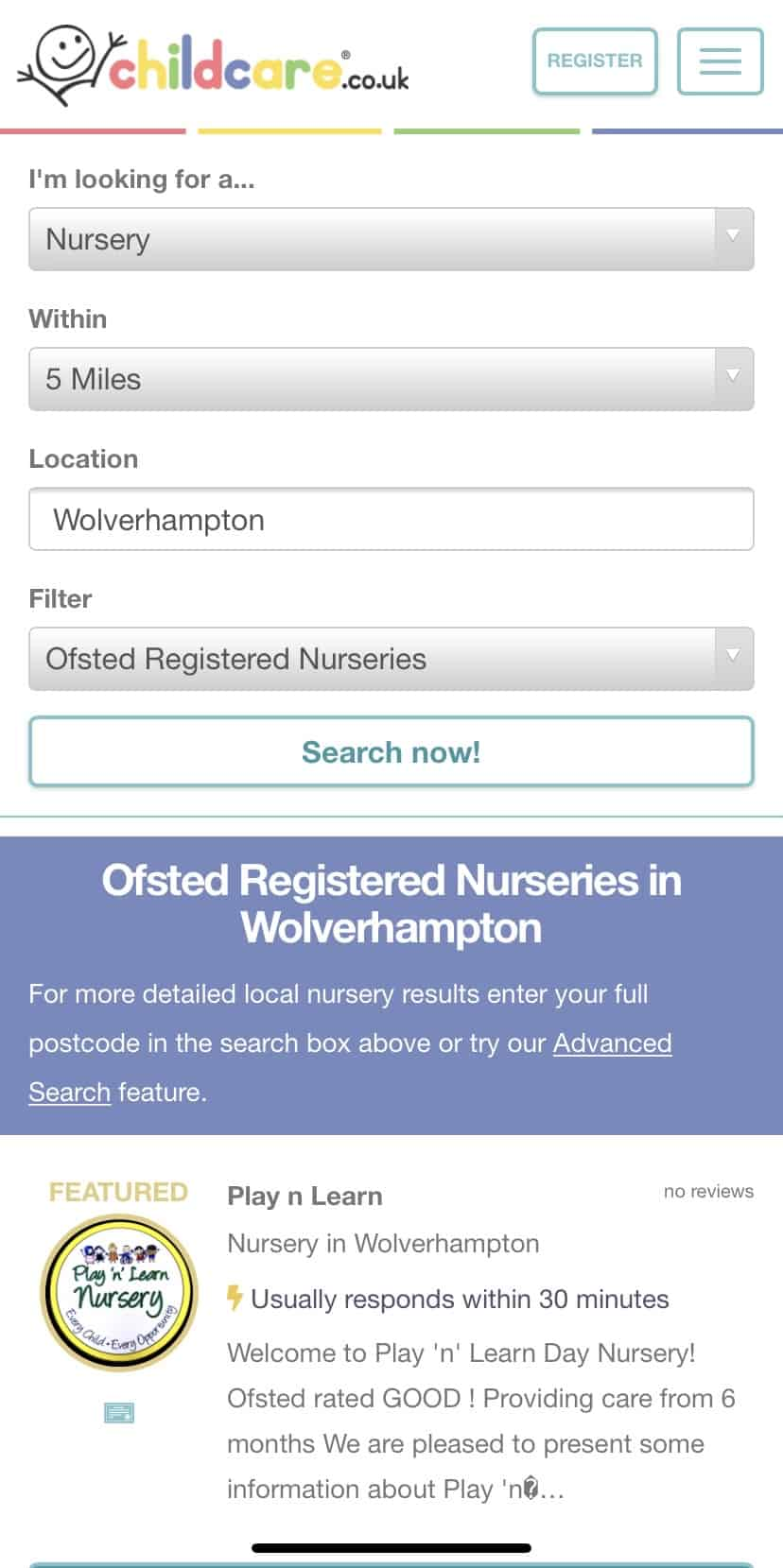 Finding a nursery using childcare.co.uk