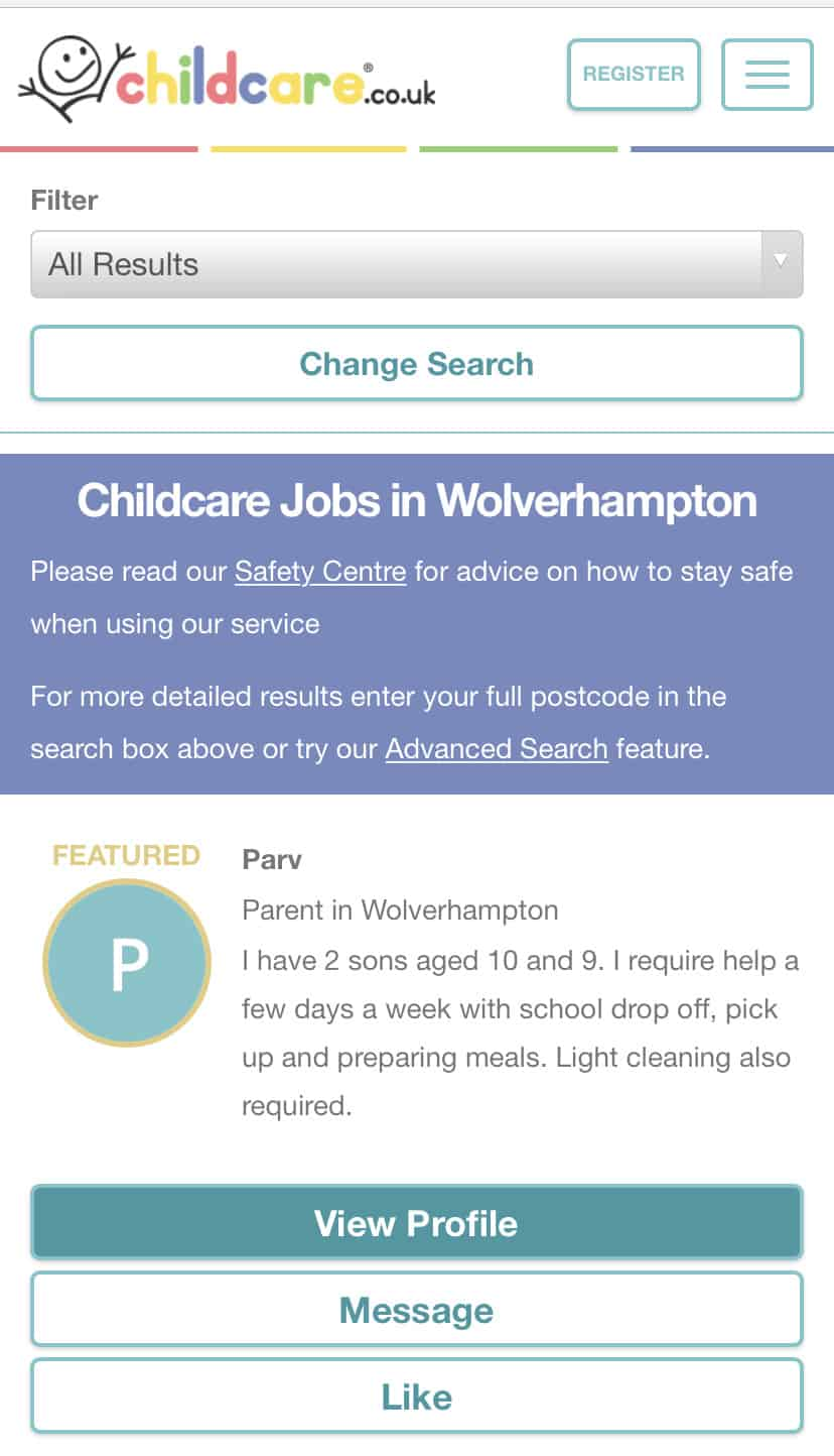Searching on Childcare.co.uk