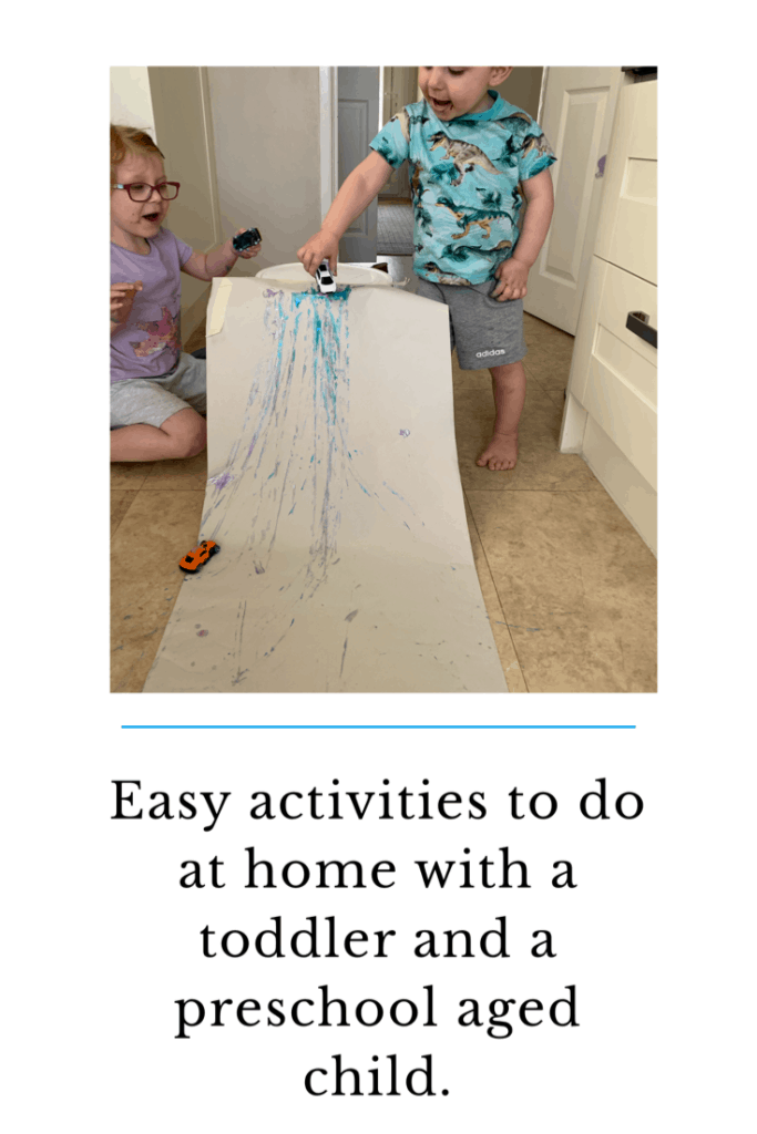 Easy activities to do at home with a toddler and a preschool aged child. #easyactivities #toddleractivties #lockdownactivities #e