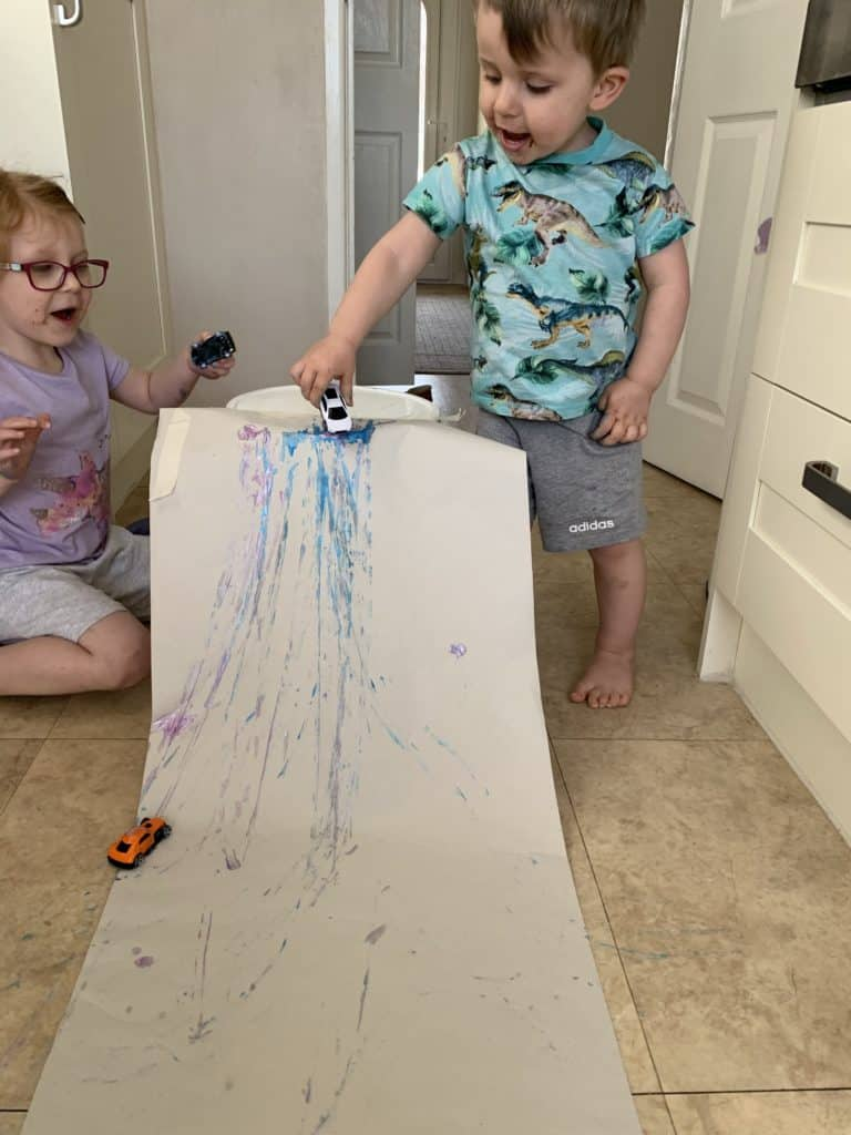 Colourful car run Easy activities to do at home
