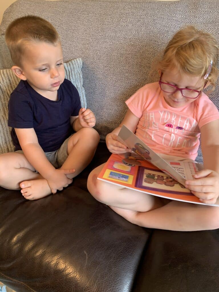 Ava and Alby enjoying Dougie's Diary