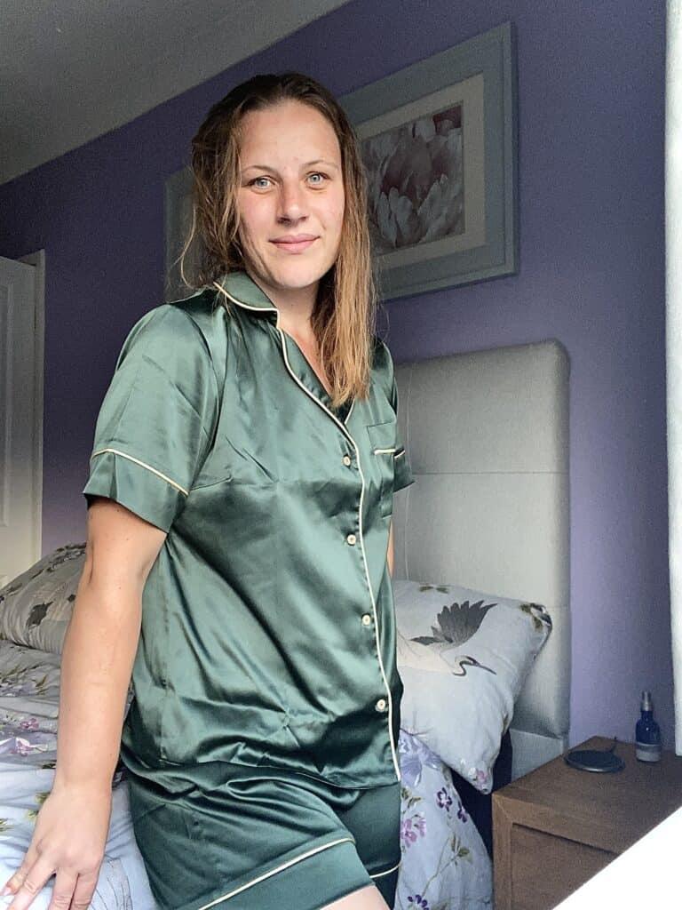 Silk green pyjamas